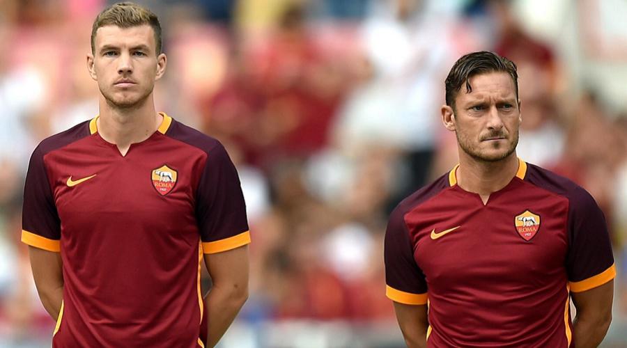 Edin Dzeko and Totti