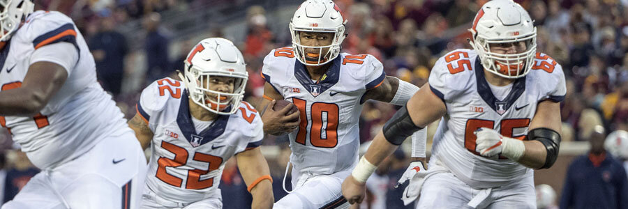 According to the NCAAF Betting Lines for Week 9, Illinois comes in as the underdog.