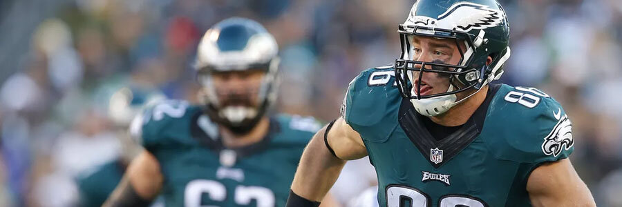 Zach Ertz is the favorite at the Super Bowl 52 Betting Odds to score the first Eagles Touchdown.