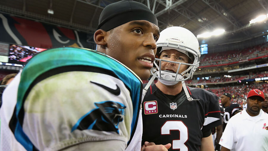 Cam Newton and Carson Palmer, QBs of the Panthers and Cardinals, respectively.