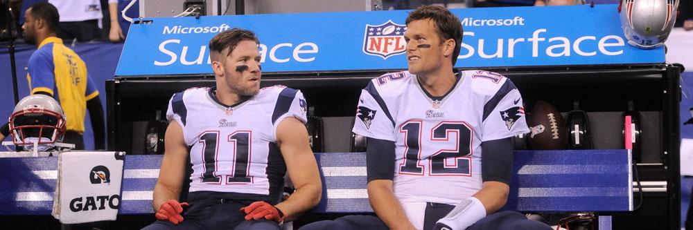 New England's Julian Edelman and Tom Brady.