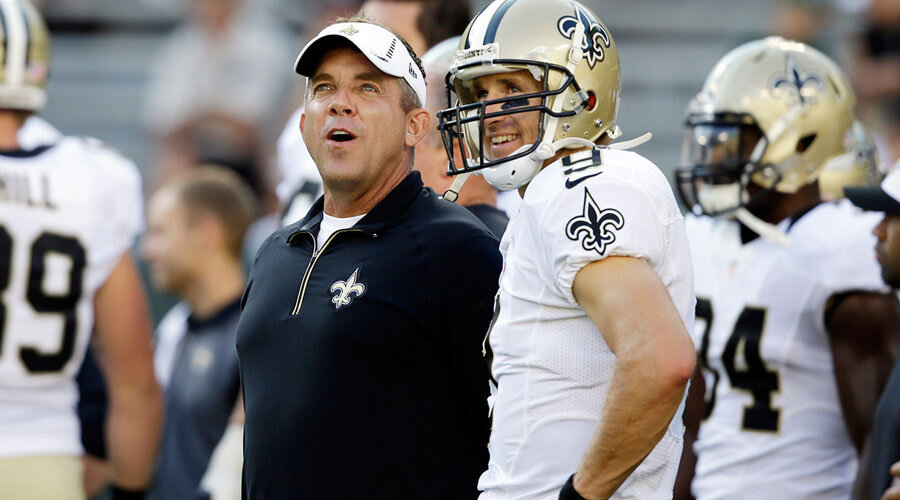New Orleans Saints Drew Bress and Sean Payton