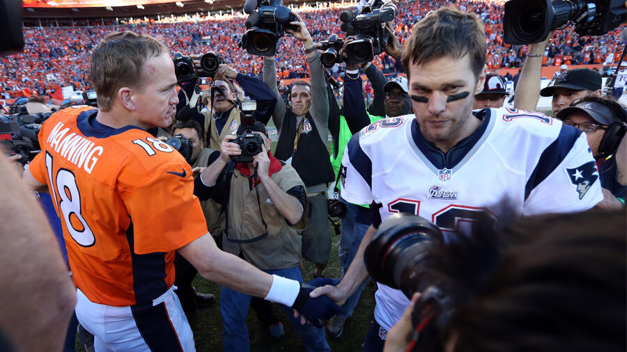 Peyton Manning and Tom Brady, respective quarterbacks of the Broncos and Patriots.
